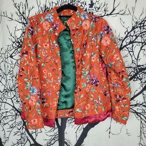NATAYA Embroidered Jacket Long Sleeve Silk Buttons